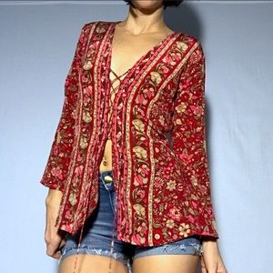 Anthropology 100% Silk Lace-Up Boho Blouse